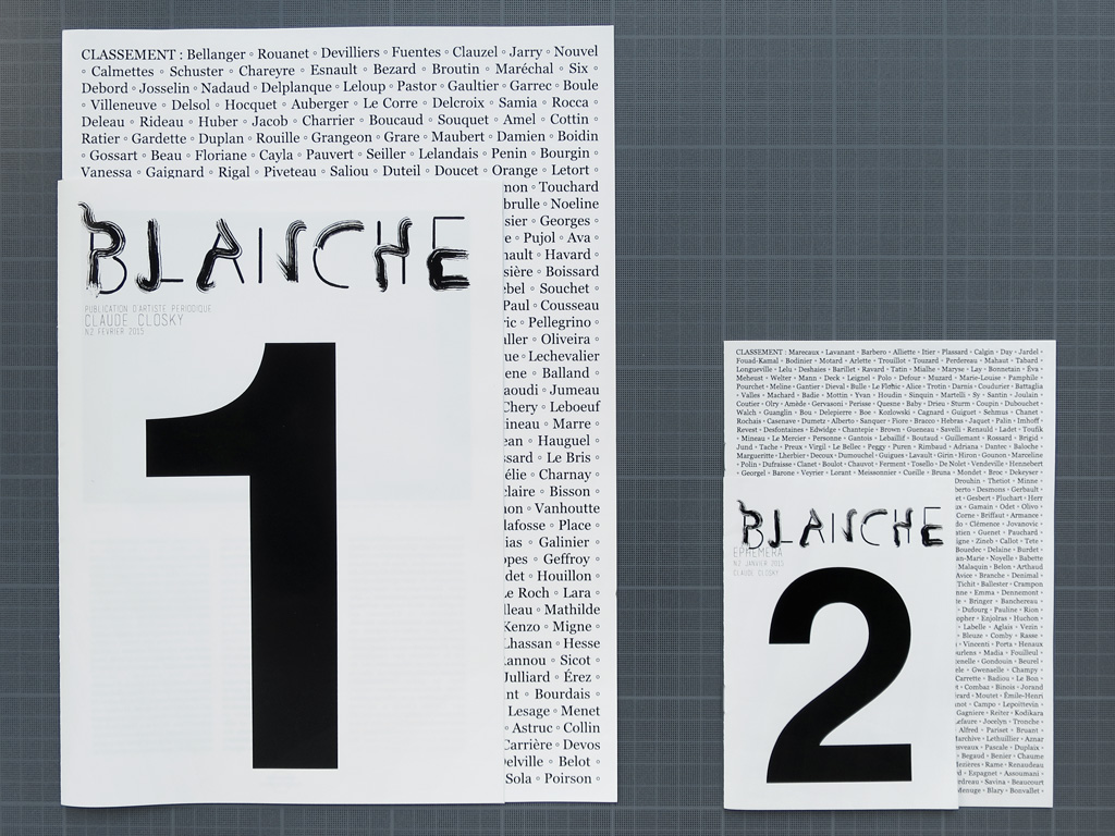 Claude Closky, 'Classement [Position]', 2014, Toulouse: Editions AutreChose, Revue Blanche, 8 pages 35 x 25 cm, cover 28 x 20 cm, 8 pages 21 x 15 cm, cover 15 x 10,5 cm.